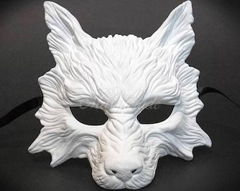 White Wolf Mask, Animal Mask, Wolf Halloween Haunted House Props Animal Masquerade Mask White