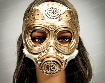 Plague Doctor Steampunk Gas Mask Steampunk Gas Masks Costume Cosplay Masquerade Mask Unisex Fully Adjustable Vintage Chrome Gold