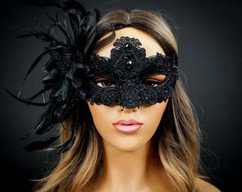Lace Mask, Black Lace Masquerade Mask, Mask with Exquisite Black Rhinestones, Lace Masquerade Mask [Black on Black]