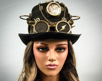 Steampunk Hat, Gold Steampunk Goggles, Headpiece Goggle, Top Hat Halloween Cosplay Costume Hat, Steampunk Costume Hat, Fascinator, Steampunk