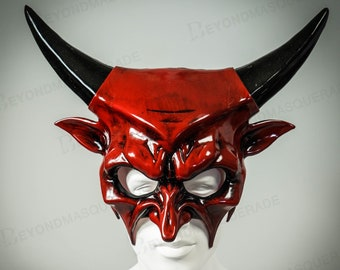 Scary Halloween Masquerade Mask Cosplay Mask for Men Devil Horns Halloween Haunted House Props Animal Masquerade Mask Red