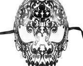 Black Masquerade Mask, Full Face Skull Mask, Day of the Dead Masquerade Mask, Sugar Skull Mask Black Rhinestones