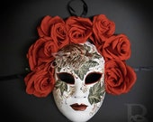 Day of the Dead Mask, Dia de los Muertos Mask, Masquerade Mask for Festivals, Halloween, Weddings and Costumes Red