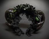 Black Ram Horns Headband Masquerade Mask, Hair Decor Costume Handband, BLACK FLORAL