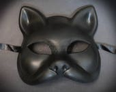 Gatto Cat Costume Masquerade Mask, Mardi Gras Venetian BLACK