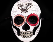 Day of the Dead Mask - Sugar Skull Skeleton Spider Web Themed Masquerade Halloween Mask, Dia de los Muertos Mask, Masquerade Mask