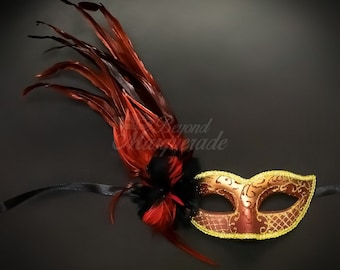 Red Dress matching Masquerade Mask studded with ruby and crystal rhinestones Red Ruby Jeweled Masquerade Mask
