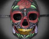 Mens Day of the Dead Mask, Dia de los Muertos Mask, Rose Masquerade Mask for Festivals, Halloween, Weddings and Costumes