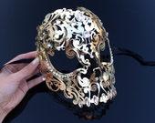 Masquerade Mask, Skull Mask, Skull Masquerade Mask, Full Face Mask, Gold Mask, Mardi Gras Mask, Mask, Mask w Rhinestones