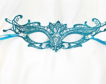 Teal Masquerade Mask - Brocade Lace Mask - Mardi Gras Mask - Lace Mask for Masquerade Wedding, Prom Masquerade