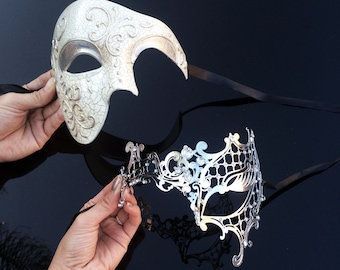 His & Hers Classic Phantom Masquerade Masks [Ivory/Silver Themed] - Ivory Half Mask and Silver Laser Cut Masquerade Mask with Diamonds