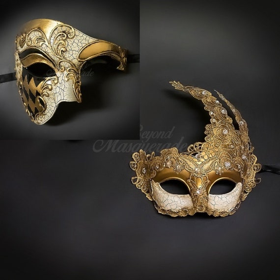 f28b33de19b3 Couple's masquerade masks Phantom mask Gold goddess lace | Etsy