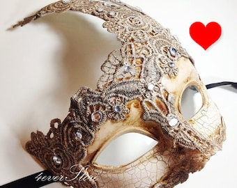 Extra 10% OFF! Venetian Goddess Masquerade Mask Made of Resin, Paper Mache Technique with High Fashion Macrame Lace & Diamonds