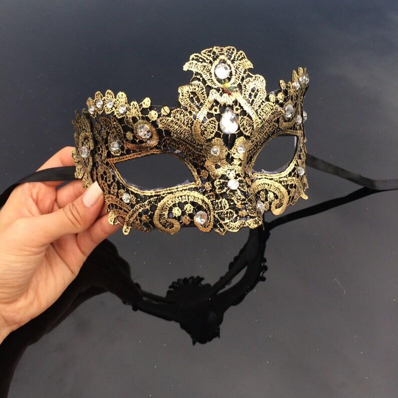Gold Masquerade Mask Masquerade Mask Brocade Lace Mask image 0