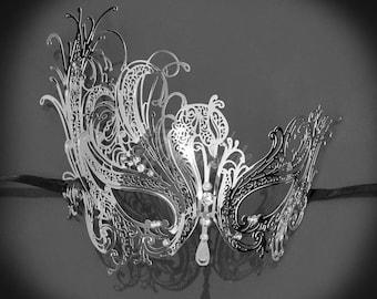 Masquerade Mask, Silver Masquerade Mask,  Masquerade Ball Mask, Mardi Gras Mask, RHINESTONES
