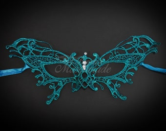 Lace Masquerade Mask, Masquerade Mask - Butterfly Brocade Lace Mask - Mardi Gras Mask - Lace Mask for Masquerade Wedding