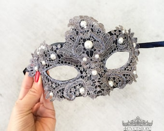 Lace Masquerade Mask, Silver Black Lace Masquerade Mask, Masquerade Ball Mask, Lace Masquerade Mask [White Pearls]