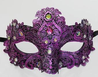 Masquerade Mask, Lace Masquerade Mask, Masquerade Ball Masks, Mask, Mardi Gras Mask, Lace Mask,Masquerade Ball Mask [Magenta Purple w/ Gems]