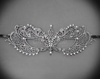 Elegant, Dark Gray Lace Masquerade Mask - Venetian Masquerade Mask - Brocade Lace Mask, Lace Mask for Masquerade Ball