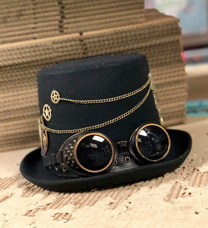 Steampunk Hat Black Steampunk hat with chains gold chains image 0