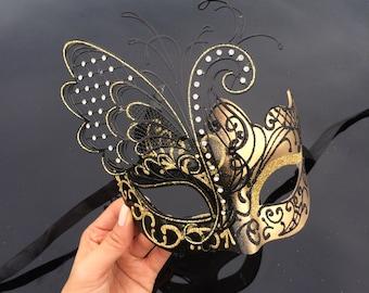Gold Masquerade Mask, Masquerade Mask, Black/Gold Venetian Masquerade Mask, Black Masquerade Mask, Mardi Gras Masquerade Mask