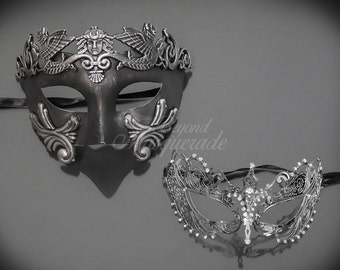 Roman Masquerade Masks [Platinum/Silver Themed] - Couple Platinum Roman Mask and Silver Metal Masquerade Mask