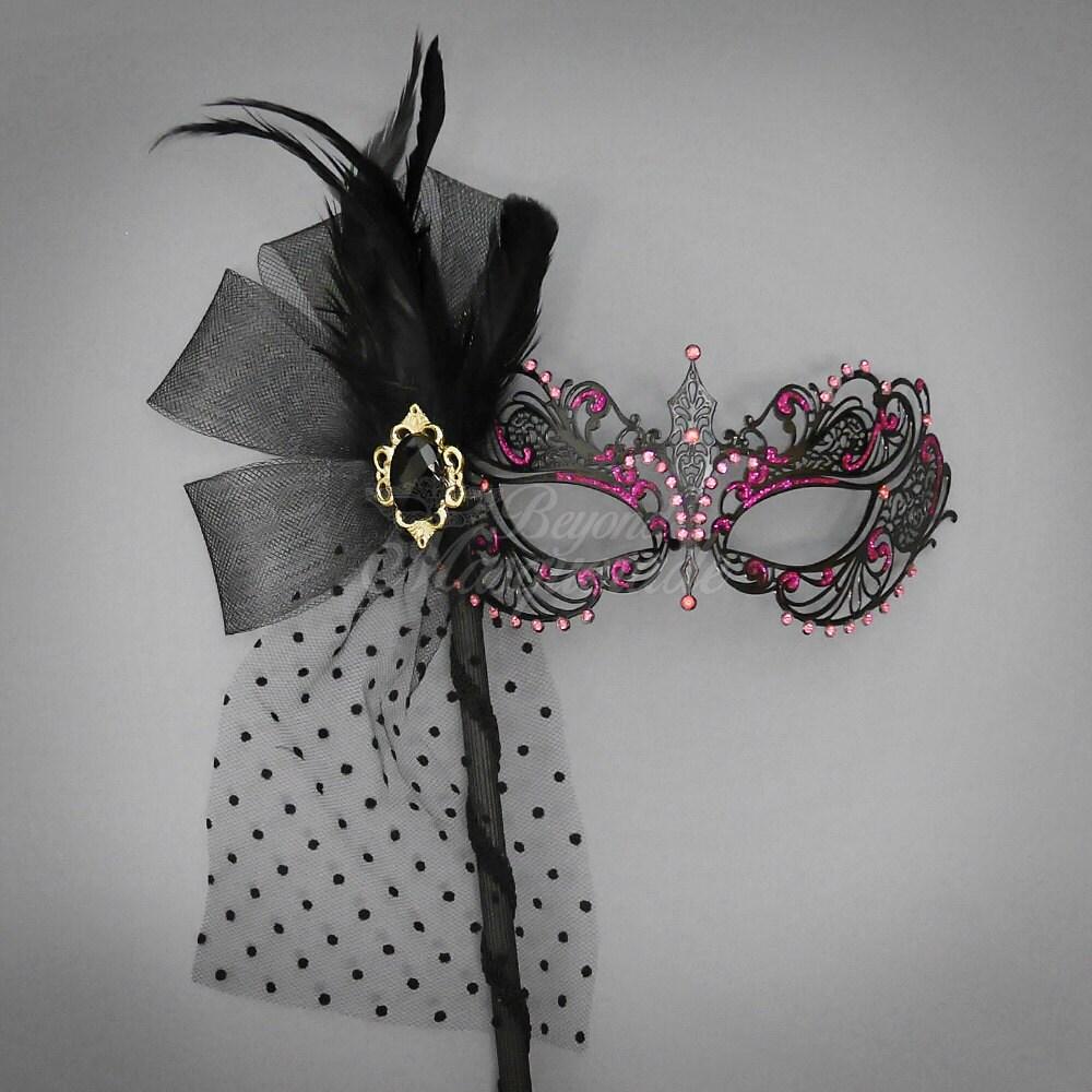 Black Goddess Filigree Metal Masquerade Mask with Handheld