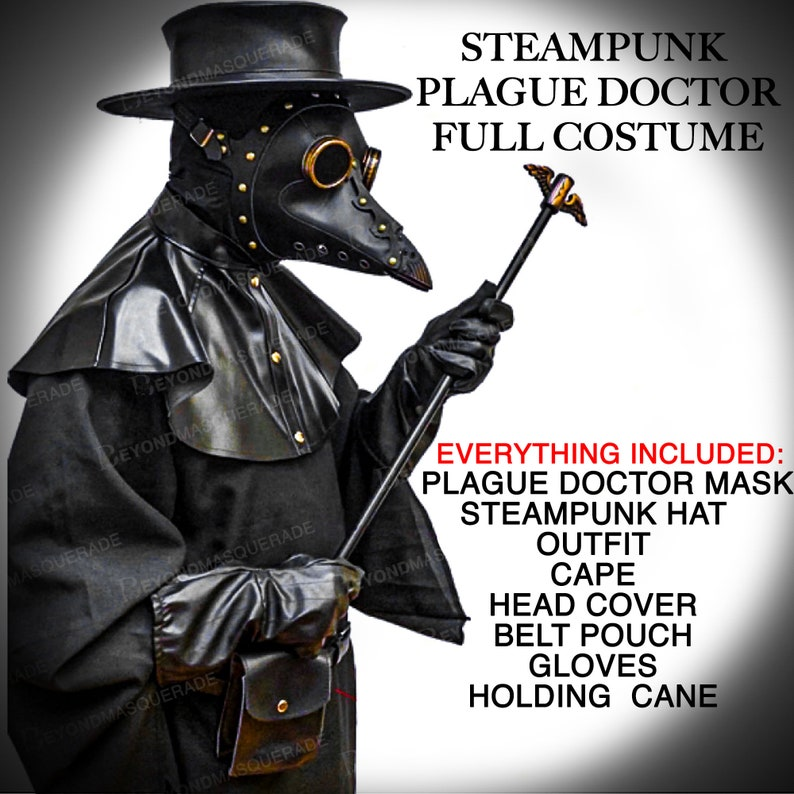 Men's Steampunk Jackets, Coats & Suits     Plague Doctor Costume Full Steampunk Halloween Mask Outfit Steampunk Bird Mask Cosplay Masquerade Mask Unisex Black Full Plague Dr Costume $139.95 AT vintagedancer.com