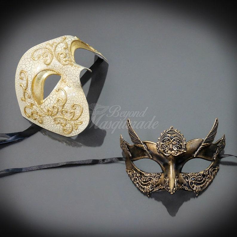 Couples Masquerade Mask Mardi Gras Masks Mardi Gras His /& Hers Set Gold Masquerade Mask Steampunk Roman Mask Mens Masquerade Mask
