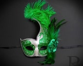 Green Silver Masquerade Mask with Intricate Glitter Swan Design and High Fashion Feathers Green Glitters