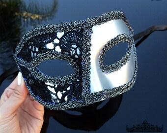 Masquerade Mask, Masquerade Ball Masks, Silver Black Mask, Lace Mask, Brocade Lace Mask, Lace Mask, Mardi Gras Mask, Masquerade Ball Mask