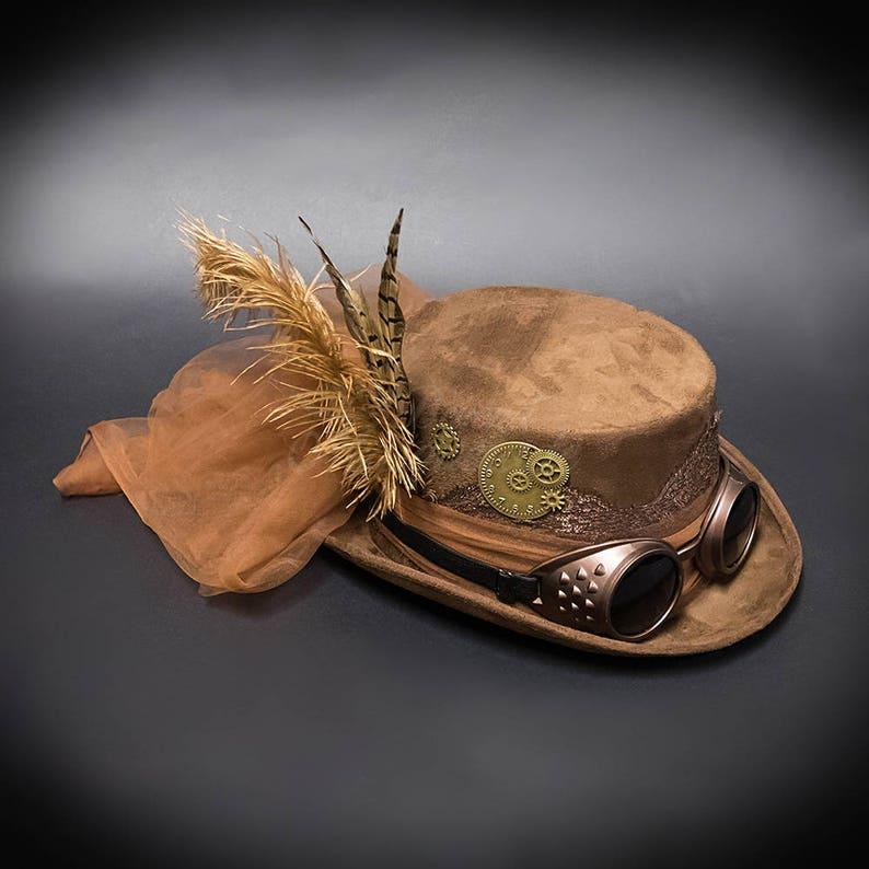 Steampunk Hat Vintage Brown  Steampunk Goggle Steampunk image 0
