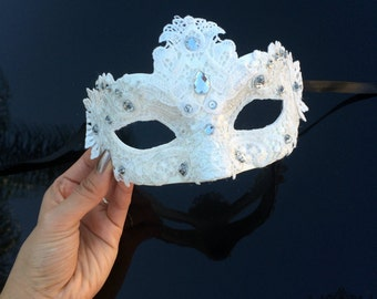 Masquerade Mask, Lace Masquerade Mask, Masquerade Ball Masks, Mask, Mardi Gras Mask, Lace Mask,Masquerade Ball Mask [White w/ Gems]