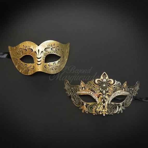 12bee7dfc36c 4everStore Couples Masquerade Mask Gold Masquerade Mask Mens | Etsy