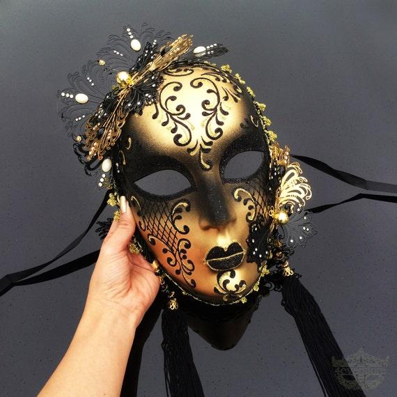 Masquerade Mask, Mask, Wall Decor, Glitters Masquerade Ball Mask, Mardi Gras Mask, Gold Masquerade Mask, Royal Blue Venetian Masquerade Mask