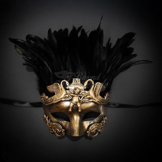 Roman Sun Warrior Venetian Masquerade Mask for Men Antique Gold