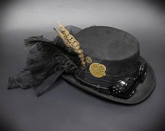 Steampunk Hat Black , Steampunk Goggle, Steampunk Gears, Steampunk Accessories
