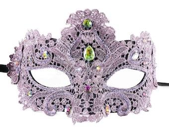 Masquerade Mask, Lace Masquerade Mask, Masquerade Ball Masks, Mask, Mardi Gras Mask, Lace Mask, Masquerade Ball Mask [Dark Grey with Gems]