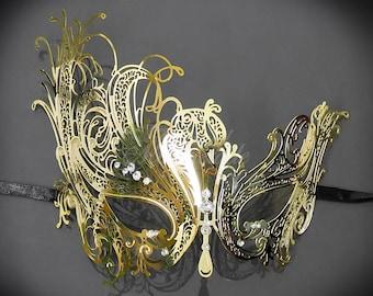 Masquerade Mask, Gold Masquerade Mask,  Masquerade Ball Mask, Mardi Gras Mask, Rhinestones