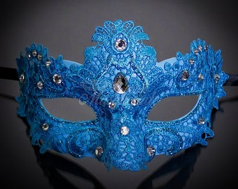 Masquerade Mask, Lace Masquerade Mask, Masquerade Ball Masks, Mask, Mardi Gras Mask, Lace Mask, Masquerade Ball Mask [Sea Blue with Gems]