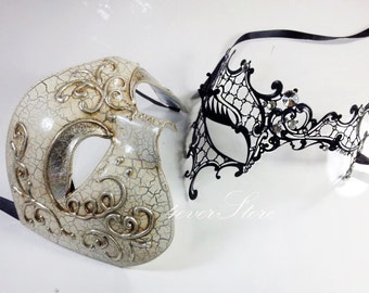 His & Hers Classic Phantom Masquerade Masks [Black/Silver/Ivory Themed] - Ivory Half Mask and Black Laser Cut Masquerade Mask with Diamonds