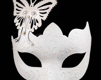 Masquerade Mask, Masquerade Mask, Butterfly Mask, White Mask, Wedding Masquerade Mask, Mardi Gras Masquerade Mask, Masquerade Ball