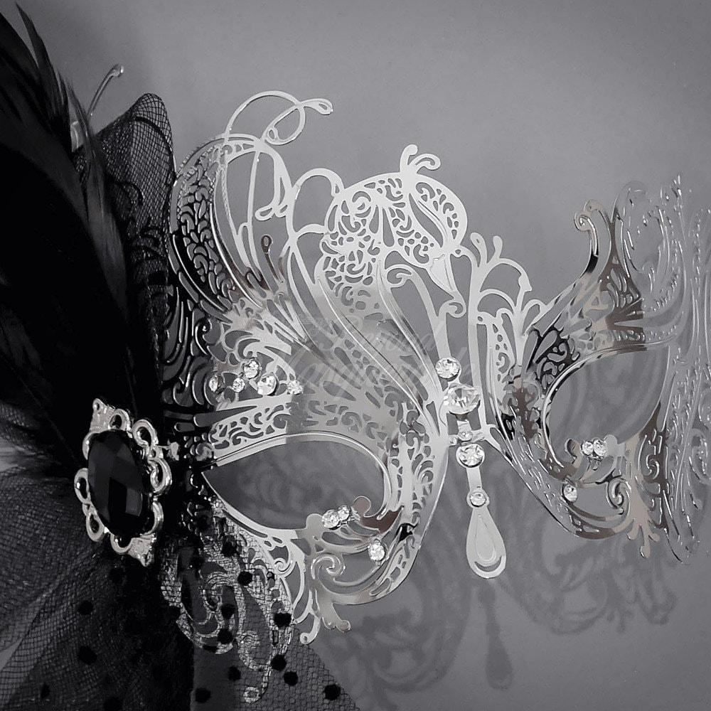 Silver Goddess Filigree Metal Venetian Masquerade Mask with
