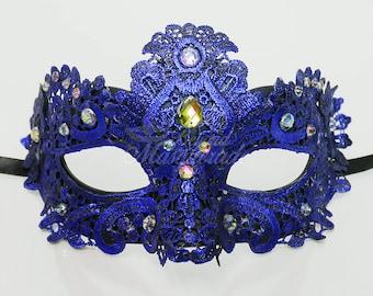 Masquerade Mask, Lace Masquerade Mask, Masquerade Ball Masks, Mask, Mardi Gras Mask, Lace Mask,Masquerade Ball Mask [Royal Blue w/ Gems]