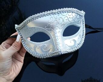 Masquerade Mask, Mens Masquerade Mask, Silver Masquerade Mask, Masquerade Mask Men, Masquerade Ball Mask, Unisex Mask, Silver Mask