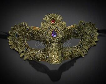 Masquerade Mask, Lace Masquerade Mask, Masquerade Ball Masks, Mask, Mardi Gras Mask, Lace Mask,Masquerade Ball Mask [Gold Green]