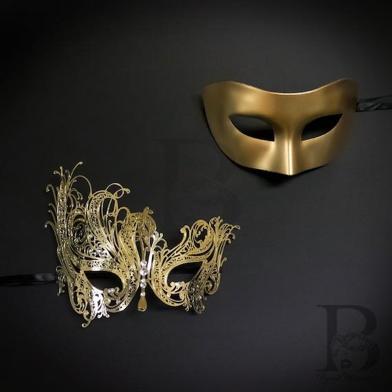Rosegold masquerade masks couples l rose gold design filigree metal gems l party masks for women men