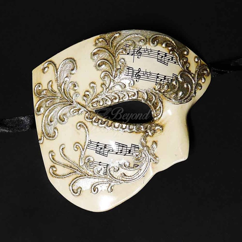 New! Men's Masquerade Mask, Silver Phantom Mask, Phantom of the Opera Mask,  Mask with Music Notes, Masquerade Mask Men, Mardi Gras