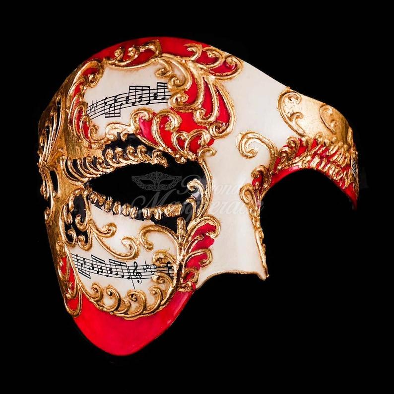 Men's Masquerade Mask, Red Phantom Mask, Gold Ivory Phantom of the Opera  Mask, Mask with Music Notes, Masquerade Mask Men, Mardi Gras