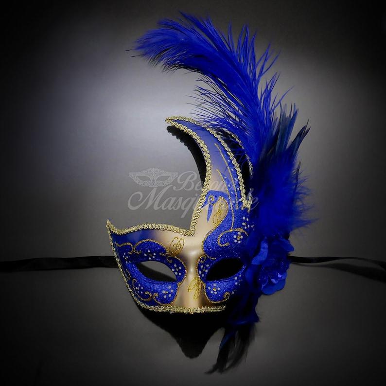Masquerade Mask Feather Masquerade Mask Feather Masks Mardi image 0